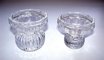 Stunning Cut Crystal Two Piece Glass Candle Holders Pair