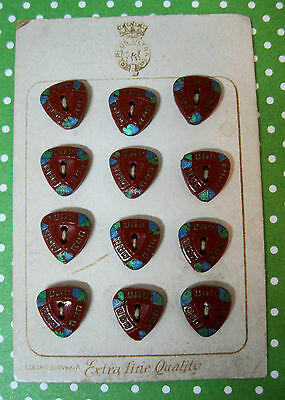 Card of 12 Vintage MOC Deco Buttons Painted Czech Glass Brown w Blue & Green TEx