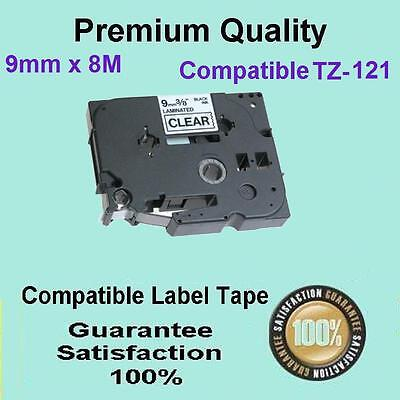 """1 Brother Compatible TZ121 P-Touch Tape 9mm 3/8"""" Black on CLEAR Laminated"""