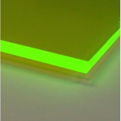 "Green Fluorescent Acrylic Plexiglass sheet 1/8"" x 12"" x 12"" #9093"