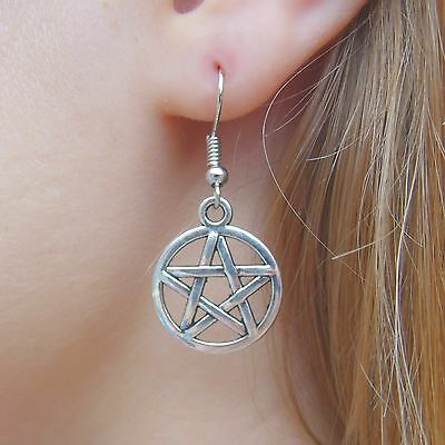 Silvered Star Protective Pentagram Earrings on .925 Sterling Silver French Hooks