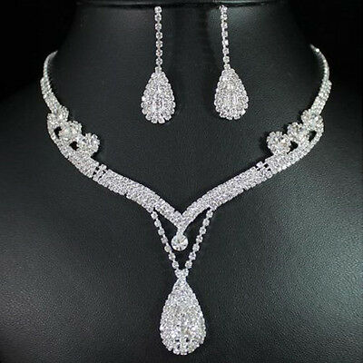 Trendy Bridal Clear Austrian Crystal Rhinestone Water Drop Necklace Earrings Set