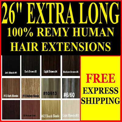 "Extra Long Full Head 26"" Inch Clip In 100% Remy Human Hair Extensions"