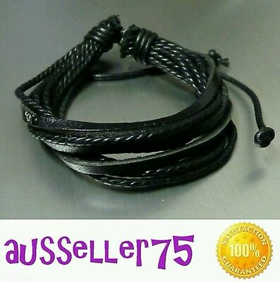 Leather black brown braided wristband bracelet surfie cuff band stylish design