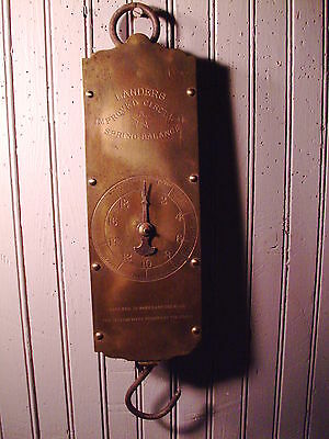 """Antique Brass scale hanging dial scale Landers  14 """" long    #249"""