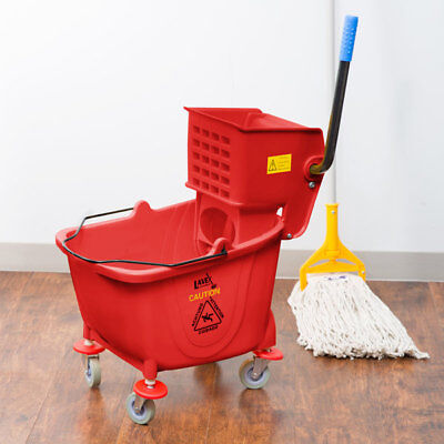 36 Quart Commercial Wet Mop Bucket & Wringer Combo Red Janitorial