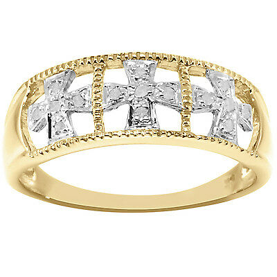 Natural 15 Diamond 9ct 9K 375 Solid Gold Antique Style Ring - Bravo Jewellery