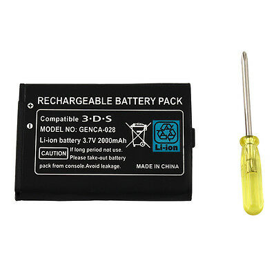 2000mAh 3.7V Replacement Rechargeable Battery for Nintendo 3DS with Screwdriver