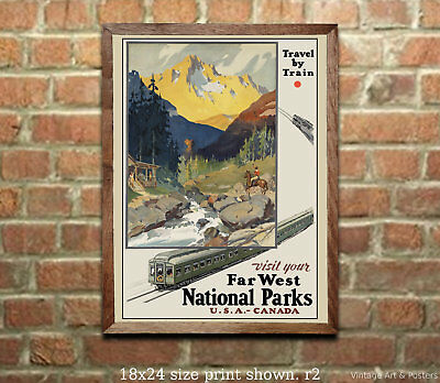 Travel by Train National Parks RR Travel Poster [4 sizes matte+glossy avail]
