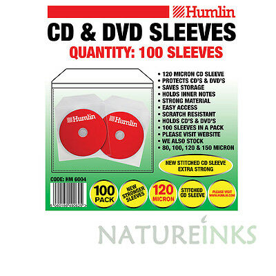 1000 Humlin High Quality 120 Micron clear plastic CD DVD sleeves Side STITCH