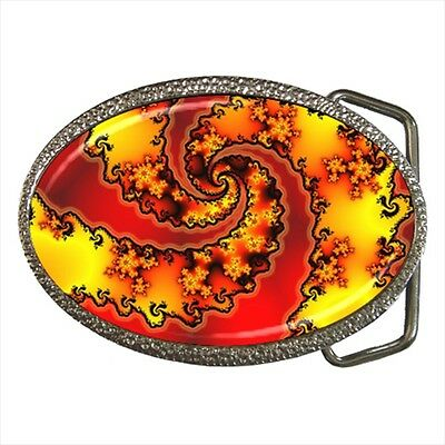 Burning Yellow Flame Fire Fractal Belt Buckle Silver Metal