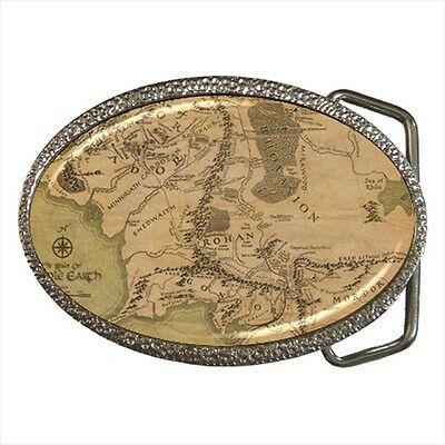 Map Of Middle Earth Realm Lord Of The Rings Belt Buckle Silver Metal