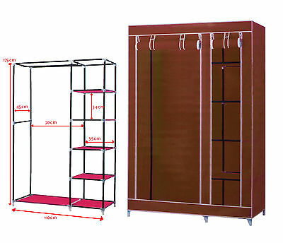 Brown Double Portable Wardrobe Rail Clothes Storage Cupboard Canvas Shoes