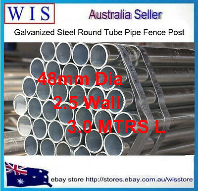 Hot Dipped Galvanized Steel Round Tube Pipe Fence Post 48mm OS Dia 3.0m(L) Cheap