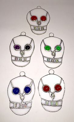 Lot of 5 Stained Glass DAY OF THE DEAD SKULLS - HANDMADE Suncatcher Ornament !
