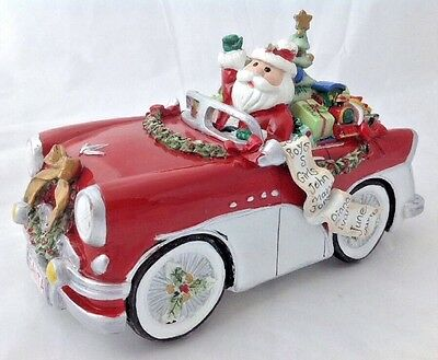 Fitz Floyd Merry Bright Santa in Classic Car Music Box 56 Buick Holiday Musical