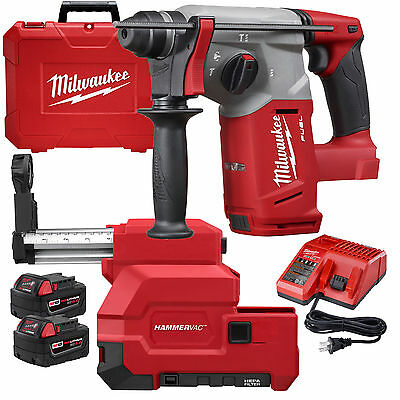 "M18 FUEL 1"" SDS Plus Rotary Hammer-Dust Extractor Milwaukee 2712-22DE New"