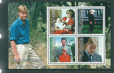 Gibraltar 2000 Prince William 18th Birthday mini sheet unmounted mint
