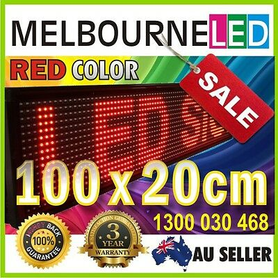 Digital LED Moving Message Sign RED Color 100x20cm SEMI-OUTDOOR PC Programmable