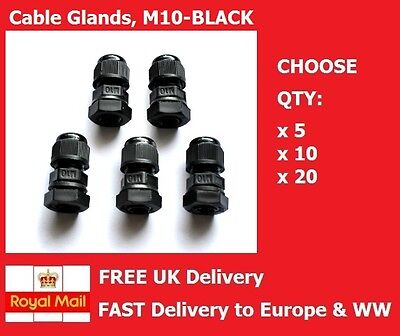 M10 CABLE GLAND BLACK 3-6MM IP68 GLANDS Complete W Locknut & Washer QTY:5,10, 20