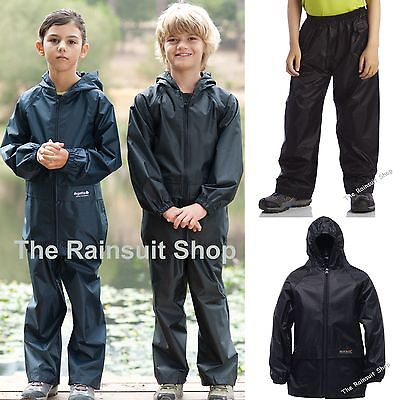 Regatta Kids Waterproof Stormbreak Jacket & Trousers Suit Boys Girls Childs Coat