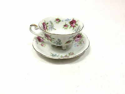 Lefton China Wild Violets Footed Cup and Saucer Set