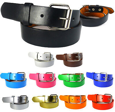 Boys Girls Leather Belt Plain School Dress Removable Buckle Kid Black Brown S-XL