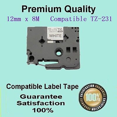 2 LAM tape Compatible FOR Brother TZ231 TZ-231 P-Touch Black Text On White 12mm