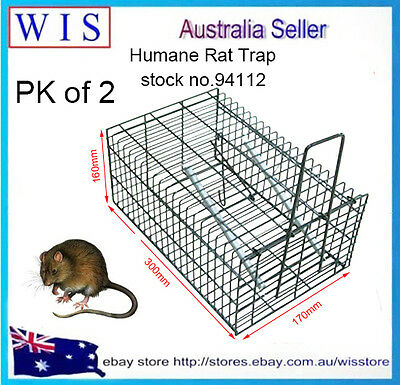 2 x Humane Rat Trap Cage Live Animal Pest Rodent Mice Mouse Control Bait Catch