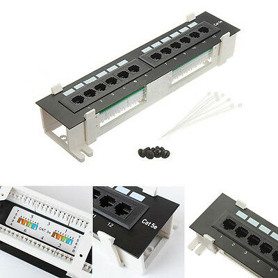 NEW 12 Port UTP 10 inch Cat5e network Wall Mount Surface Patch Panel