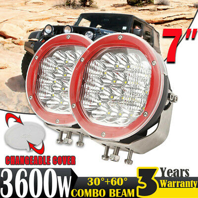 Pair 7inch 3600W CREE LED Driving Light Spot Headlight Offroad 4x4 Round 4WD HID