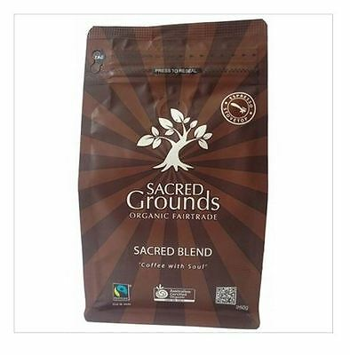 6 x 250g SACRED GROUNDS Fairtrade Organic Blend Coffee Grounds for Espresso