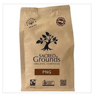 6 x 250g SACRED GROUNDS Fairtrade Organic PNG Blend Coffee Grounds for Espresso