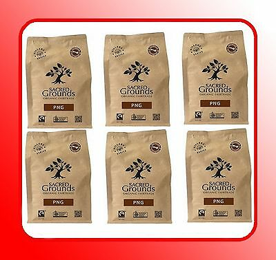 6 x 250g SACRED GROUNDS Fairtrade Organic PNG Blend Coffee Beans