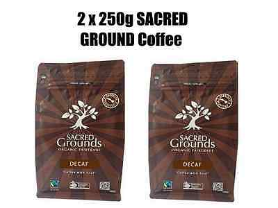 2 x 250g SACRED GROUNDS Coffee Ground  ( Espresso ) Fairtrade Organic - Decaf