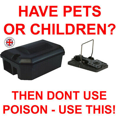 RAT MICE MOUSE RODENT PROTECTOR BAIT BOX and SNAP TRAP BLACK NO POISON SOLUTION