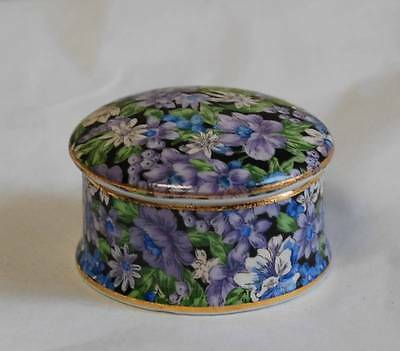 Two's Company Floral MOLLIE CHINTZ Round Lidded Vanity Trinket Dish Pill Box