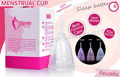 100% Medical Silicone Soft Menstrual Period Cup Reusable Womens Hygiene 3 Colors