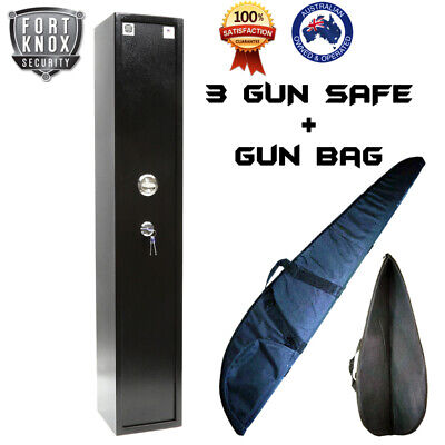 Fort Knox 3 Gun Safe Firearm Rifle Storage Lock Box Steel Cabinet + Gun Bag