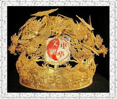 QING KINGDOM EMPEROR REWARD MINISTER WIFE GOLD DRAGON PHOENIX SILVER CROWN凤冠RARE