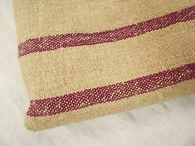 CRANBERRY Vtg Antique DARK HEAVY HEMP LINEN Fabric EUROPEAN FEED SACK GRAIN BAG