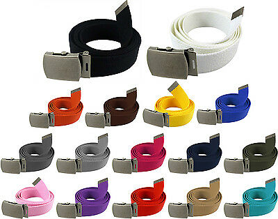 Military Web Canvas Belt Waist Strap Mens Womens Silver Metal Slider Buckle  54