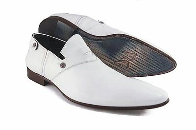 Roberto GuerriniB-2261 Men's White Leather Slip-On Shoes