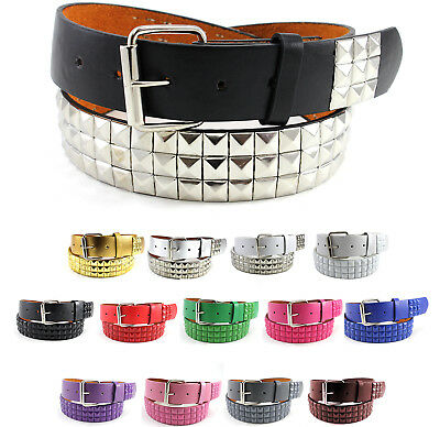 Metal Studded Faux Leather Belt Plain Pyramid Punk Rock Emo Solid Mens Womens