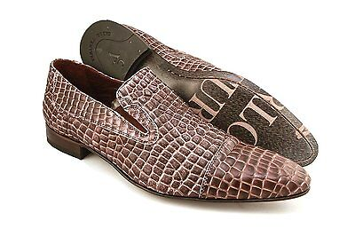 Carlo Ventura 2406 Men's Slip-On Shoes In Crocodile Print Leather