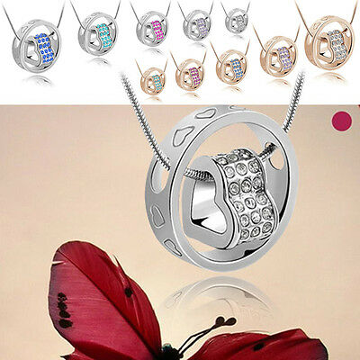 Fashion Stylish Love in Circle Heart Design Crystal Pendant Necklace 10 Colors