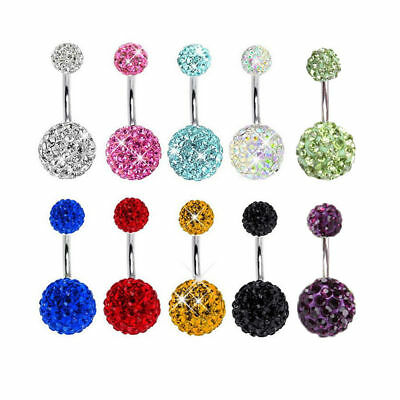 Navel Belly Button  Barbell Rhinestone Crystal Ball Piercing Body Jewelry