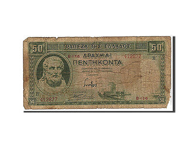 [#110069] Greece, 50 Drachmai, 1939, KM #107a, VG(8-10), B136412877