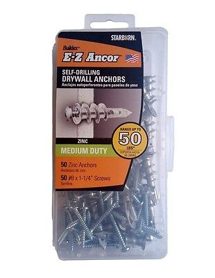 "50 Zinc Self Drilling Drywall Anchors with 50 Phillip Screws #8 x 1-1/4"" #EKZ050"