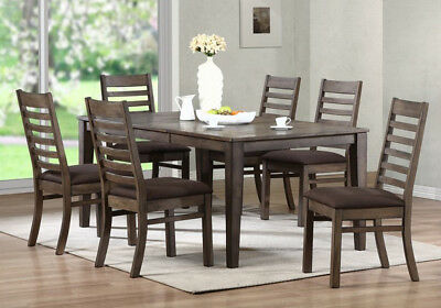 North Adams 7 pcs Dining Set Table Leaf Fabric Chairs Solid Wood Antique Gray